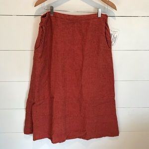 Flax Midi Skirt Burnt Orange Linen Size Medium
